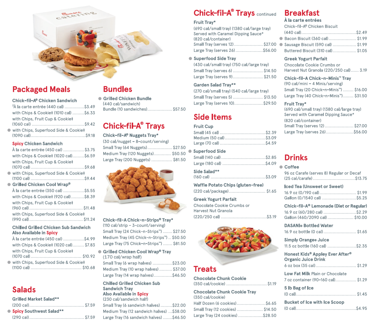 It's just a photo of Revered Chickfila Printable Menu